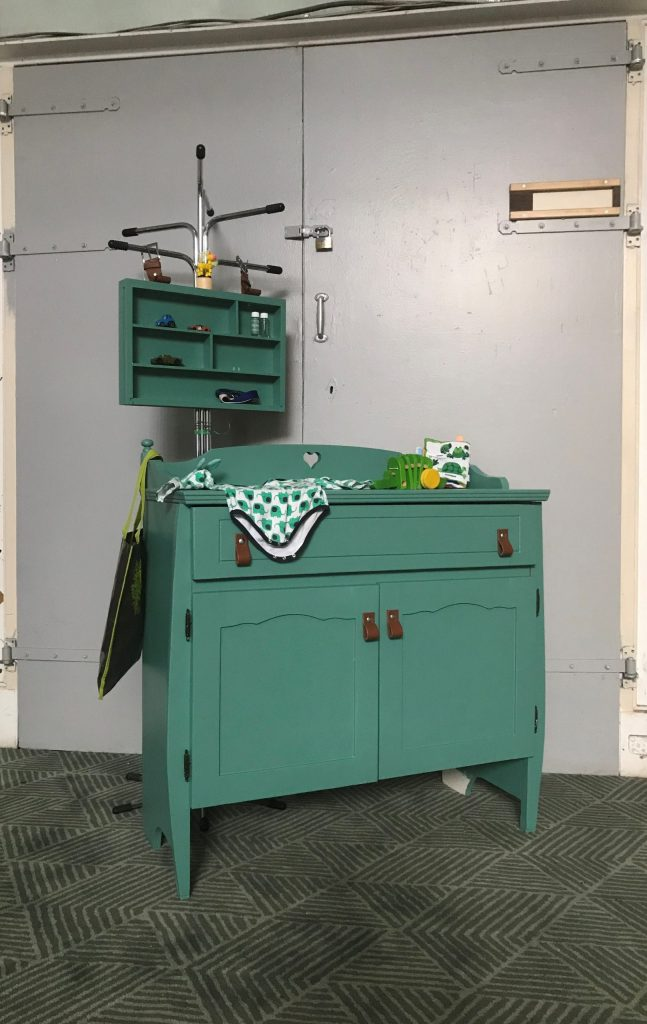 Turquoise vintage commode